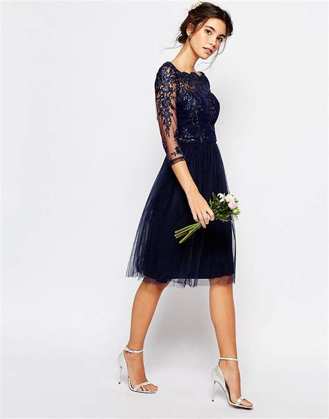 Premium Blue Lace Mid Slit Dress chi chi bardot neck midi dress with premium lace and tulle skirt in black lyst