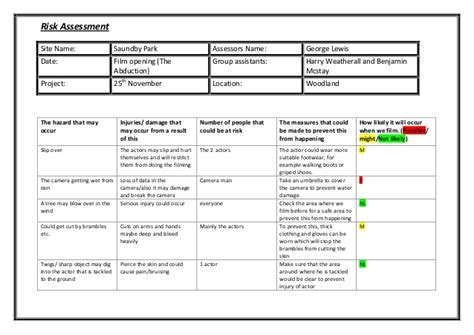Risk Benefit Assessment Template by Risk Assessment