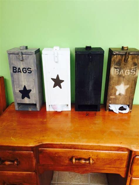 primitive wood plastic grocery bag holder