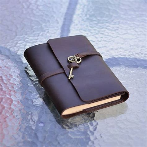 sketch book leather cover refillable leather journal with key handmade sketchbook