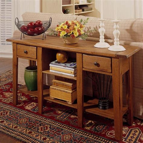 Attic Heirlooms Rectangular Sofa Table With 2 Drawers And Attic Heirlooms Sofa Table