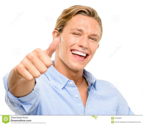 this is one happy guy this is the happiest man that i happy young man holding thumbs up isolated on white