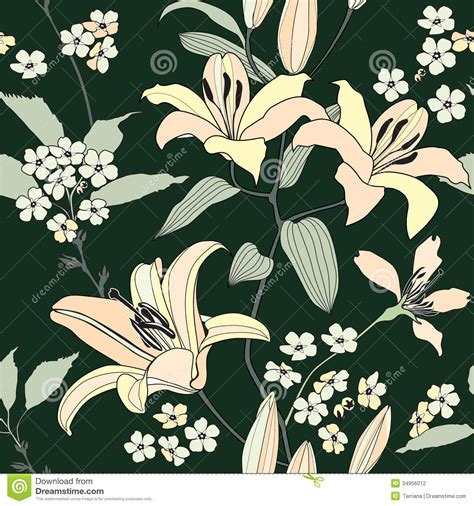 wallpaper printing floral seamless background gentle flower pattern stock
