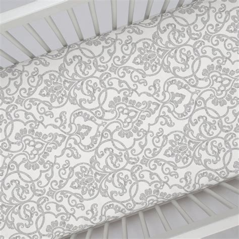 Gray Crib Sheet by Gray Filigree Crib Sheet Carousel Designs