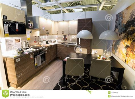 kitchen furniture store kitchen in the furniture store ikea editorial photo image 37695606