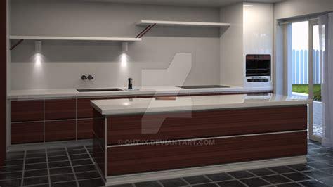 self designed kitchen 3d render wip by qutiix on deviantart