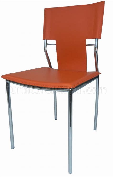 Modern Metal Dining Chairs Set Of 4 Orange Leatherette Modern Dining Chairs W Metal Legs