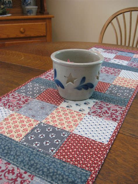 Patchwork Table Runner - quilted table runner country table runner quilted patchwork