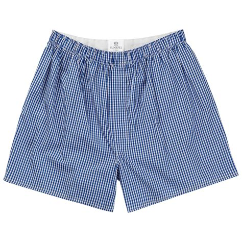 sunspel classic cotton boxer shorts in blue for lyst