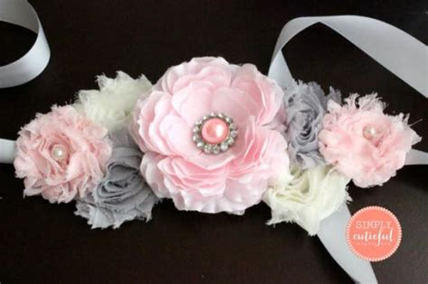 How To Make A Baby Shower Sash by Pink Gray Maternity Sash Maternity Belt Baby Shower Sash Pregnancy Photo Prop Pregnancy