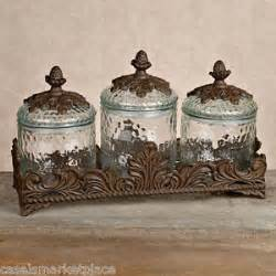 tuscan style kitchen canister sets gg collection set of 3 glass baroque kitchen canisters w base tuscan design ebay