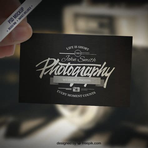 free vintage photography business card templates business card mockup in retro style psd file free