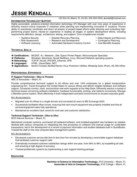 Technician Resume by Service Technician Resume Mechanical Sles Junior Call Centre Cv Template It Field Service