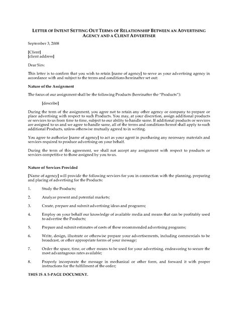 letter of intent to hire template letter of intent to hire advertising agency forms