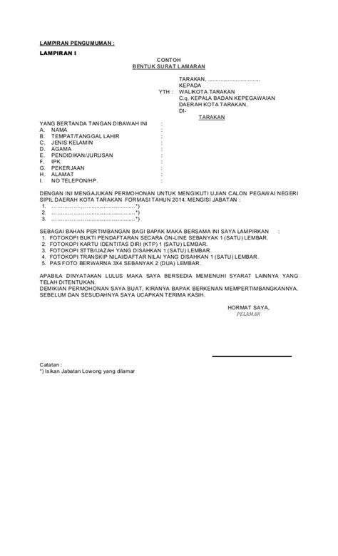 Contoh Lamaran Kerja Cpns Ristek Dikti by Pengumuman Formasi Dan Syarat Cpns 2014 Kota Tarakan
