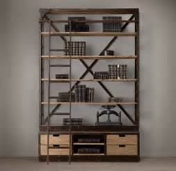 restoration hardware shelving library bookcases with ladders tidbits twine