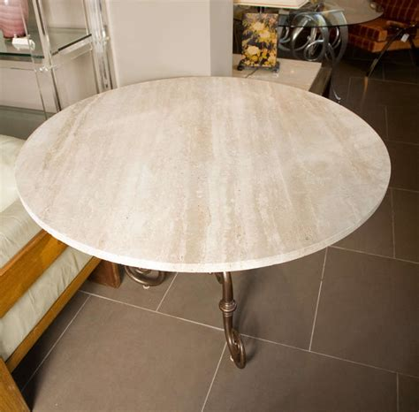 Travertine Round Indoor Outdoor Table At 1stdibs Travertine Patio Table