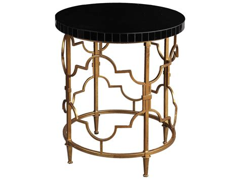 round black accent table uttermost mosi gold black 22 round accent table ut24606