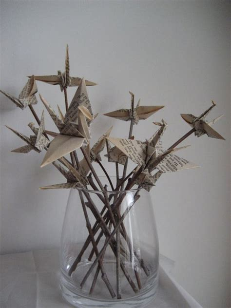 Origami Crane Centerpiece - paper cranes put on sticks did this for the cranes