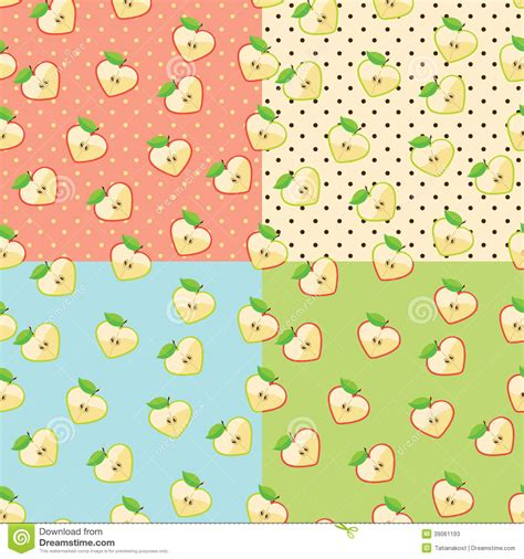 pattern apple background heart of apples in seamless pattern with polka dot stock