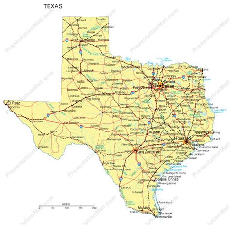 map of texas interstates texas map major cities roads railroads waterways digital vector illustrator pdf wmf