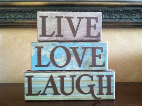 live love laugh home decor items similar to wood live love laugh blocks wood block