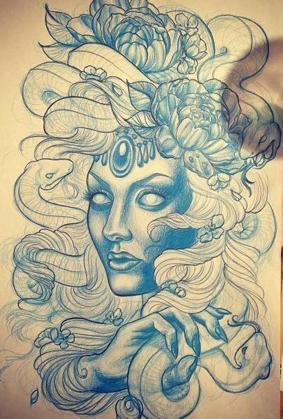 new school medusa tattoo blue ink new school medusa gorgona with peony flowers