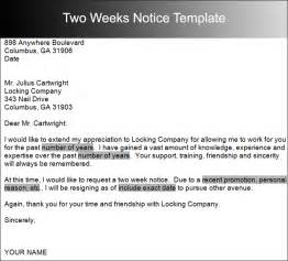 Two Weeks Template by Two Weeks Notice Letter Templates Free Pdf Word