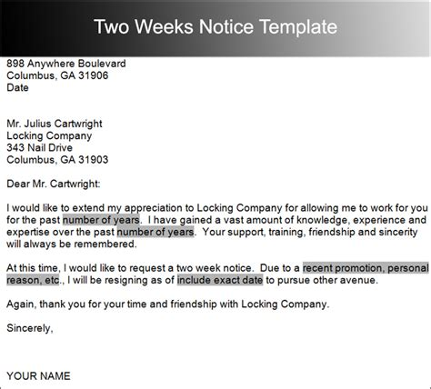 2 weeks notice template word two weeks notice letter templates free pdf word