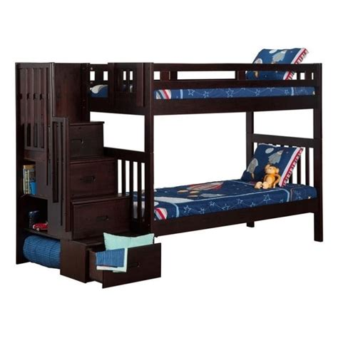 espresso bunk beds atlantic furniture cascade staircase bunk bed in espresso