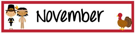 november printable banner november pocket chart calendar numbers