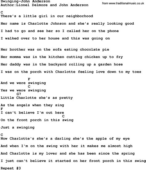 swinging by john anderson country music swinging john anderson lyrics and chords