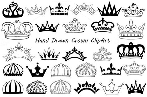 doodle name tiara crown clipart illustrations on creative market