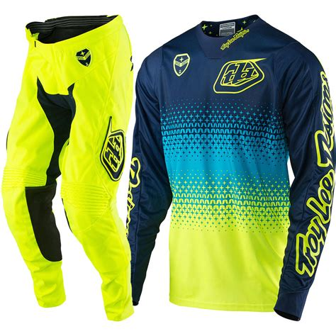 tld motocross gear troy lee designs 2017 new mx se starburst flo yellow navy