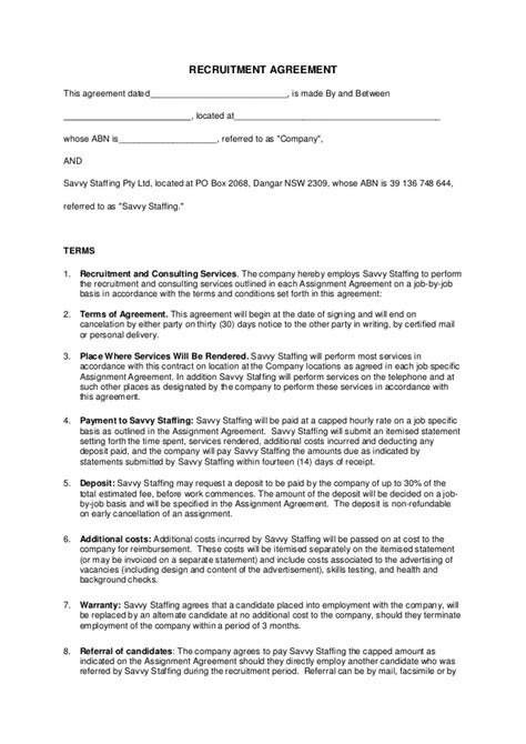 Recruitment Agreement Savvy Staffing Recruitment Contract Template
