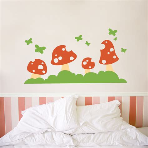 toadstool wall stickers butterfly toadstool wall decal