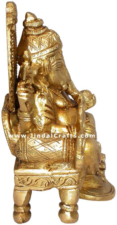 Handmade Sculptures - indian god ganesh handmade brass sculpture hindu