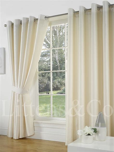faux silk cream curtains 66 x 90 cream faux silk curtains eyelet ring top fully