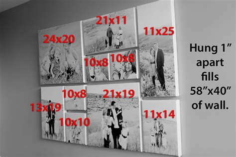 canvas photo layout ideas canvas wall collage measurements and arrangements home