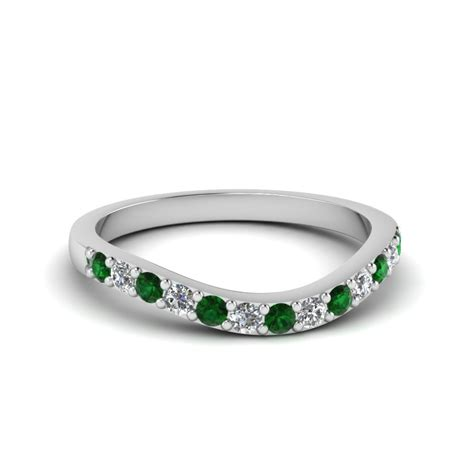 Wedding Bands Emerald by Open Linked Band For In 14k Gold
