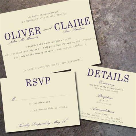 Modern, Elegant Horizontal Wedding Invitation & RSVP Card