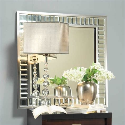 home decor wall mirrors angelo home marlowe square accent mirror in bling modern
