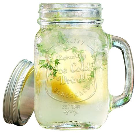 Farmhouse Dining Room Furniture ice cold mason jar drinking glasses farmhouse cups and
