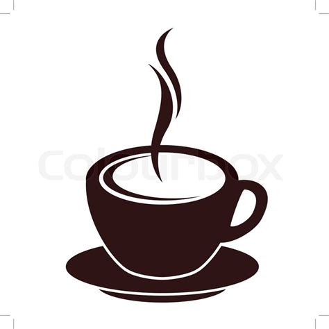 Silhouette of coffee cup with steam on white   Stock Vector   Colourbox