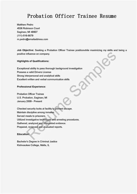 Probation Officer Trainee Sle Resume by Probation Officer Trainee Resume Sle Resume Sles Resame Resume Probation