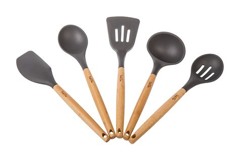 Portofino 5 Pc Eco Friendly Bamboo And Silicone Kitchen Silicone Kitchen Utensils Set