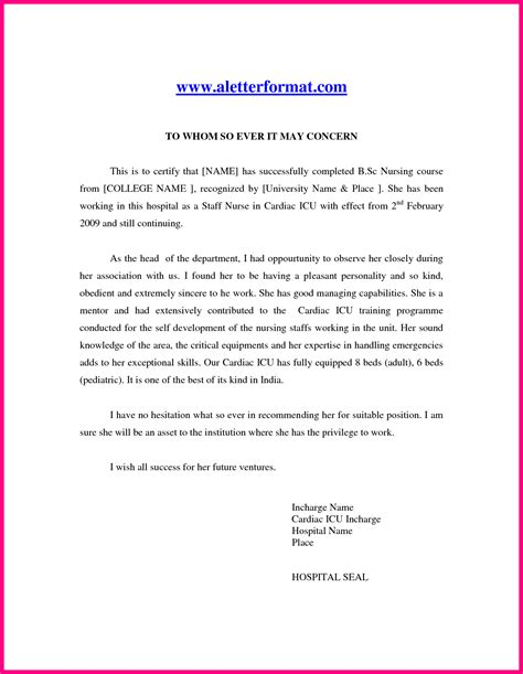 Recommendation Letter Format Nurses 9 Recommendation Letter Sle For Nurses