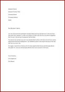 simple letter of resignation template best business template