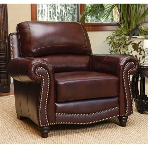 Burgundy Accent Chairs Living Room Abbyson Living Terbella Leather Accent Chair In Burgundy Sk 2506 Brg 1