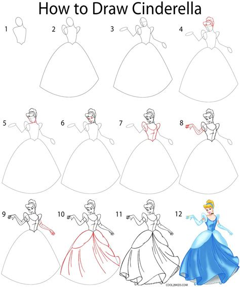 how to draw a step by step how to draw cinderella step by step pictures cool2bkids